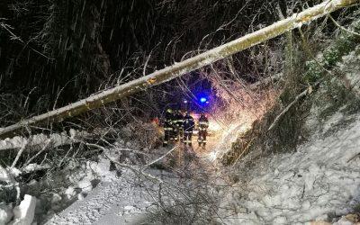 Fast 9 Stunden durchgehend aufgrund des Schnees im Einsatz – Baumbergungen und LKW Bergungen