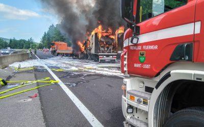 LKW Vollbrand nach Auffahrunfall